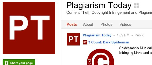 Follow the Plagiarism Today Google+ Page Image